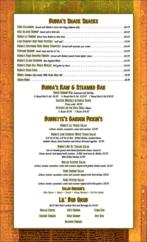 Bubba 39 s fish shack menu menu for bubba 39 s fish shack for Bubbas fish shack