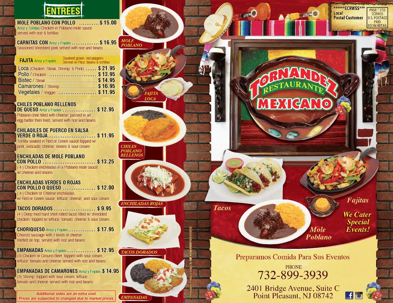 Tornandez Restaurante Mexicano Menu