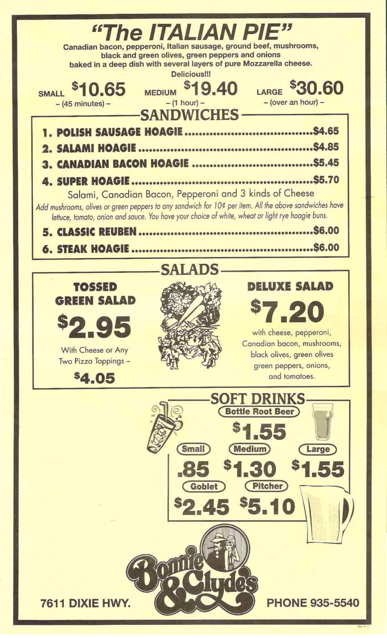 Bonnie & Clyde\'s Pizza Parlor Menu - Urbanspoon/Zomato