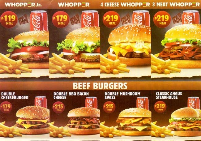 Images Of Menu Prices For Burger King