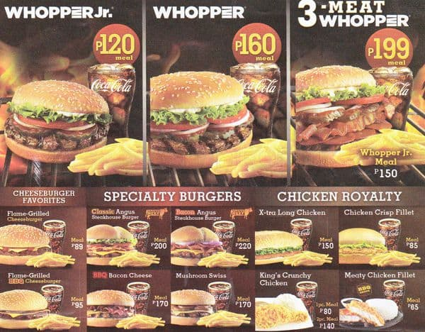 Menu for Burger King Welcome Rotonda. This is an unofficial menu. Items and prices are subject to change without notice. Service charge may apply.