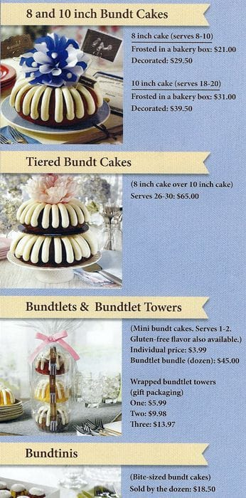 Nothing Bundt Cakes Menu Prices