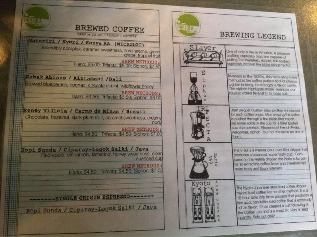 portola coffee lab menu menu for portola coffee lab