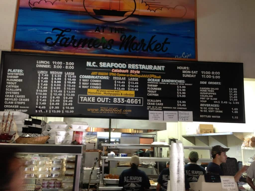 Nc Seafood Restaurant And Market West Raleigh Menu