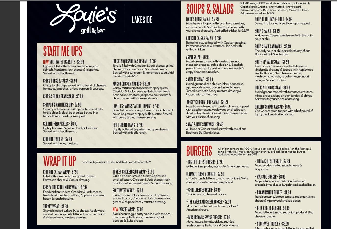 Louie S Cafe Breakfast Menu