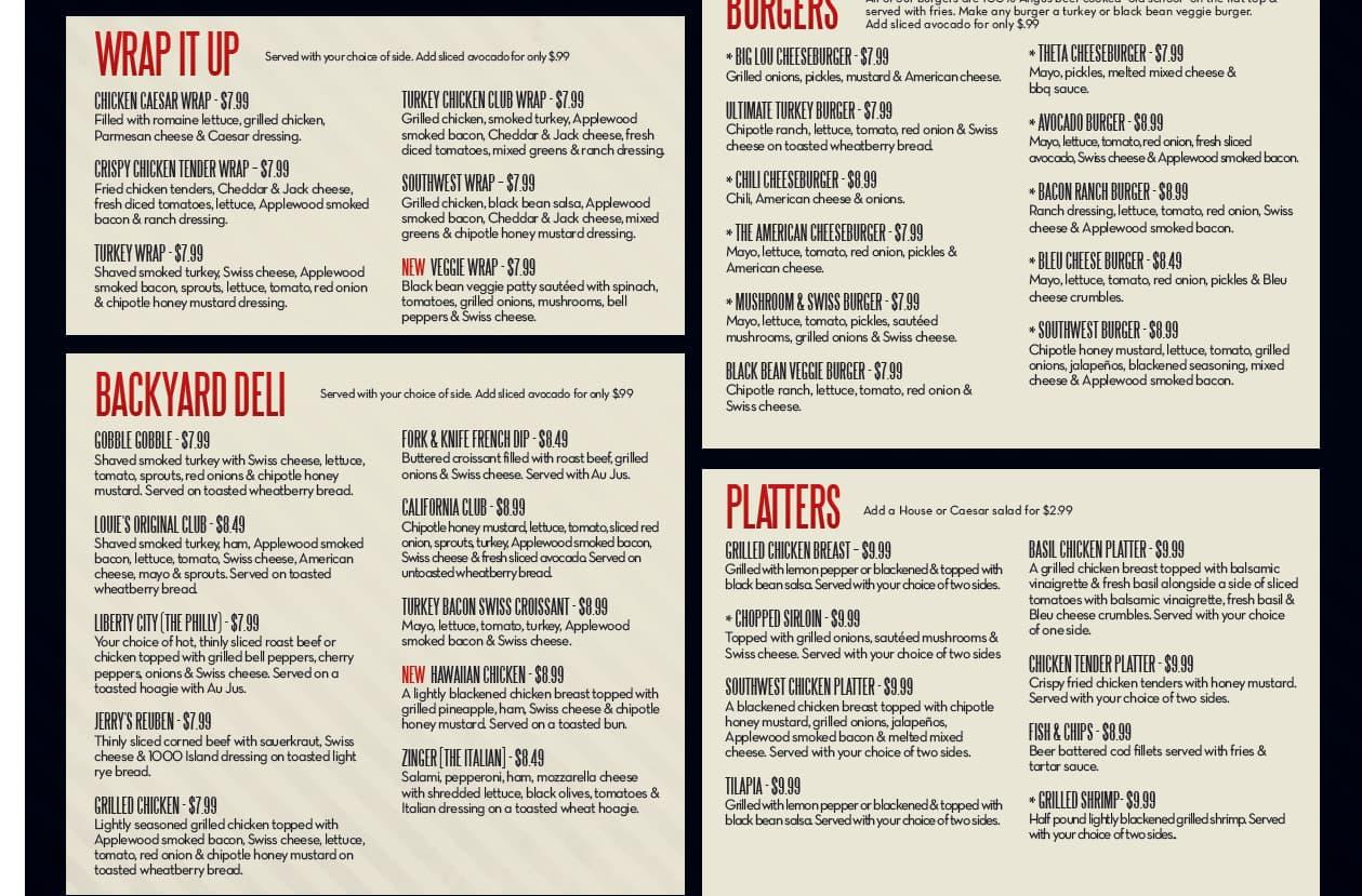menu at louie u0027s grill u0026 bar 9401 n lake hefner dr restaurant prices