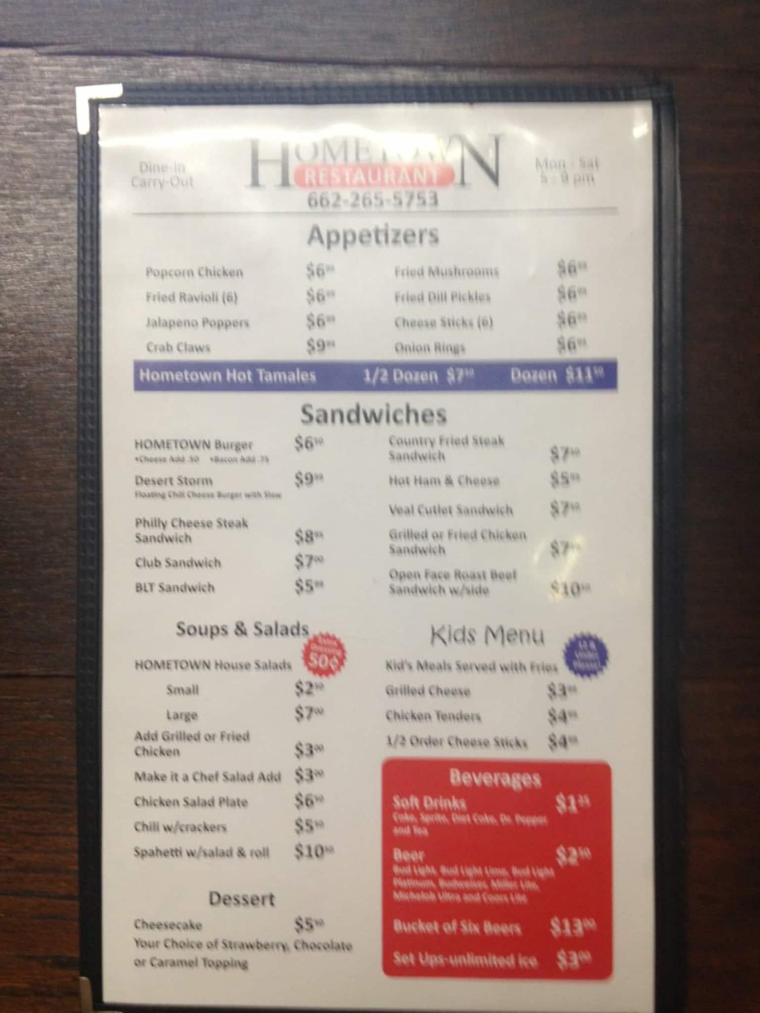 Hometown Restaurant Menu