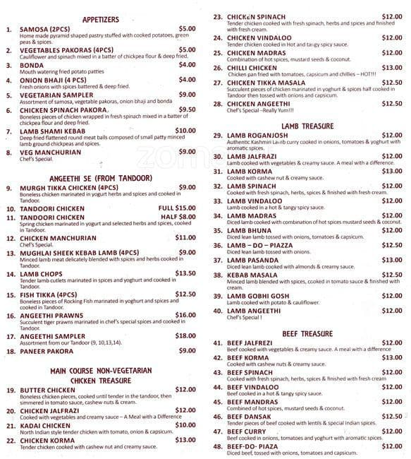 Angeethi indian restaurant menu urbanspoon zomato for Angeethi indian cuisine leesburg