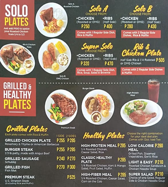 Kenny Rogers Roasters Menu, Menu for Kenny Rogers Roasters ...