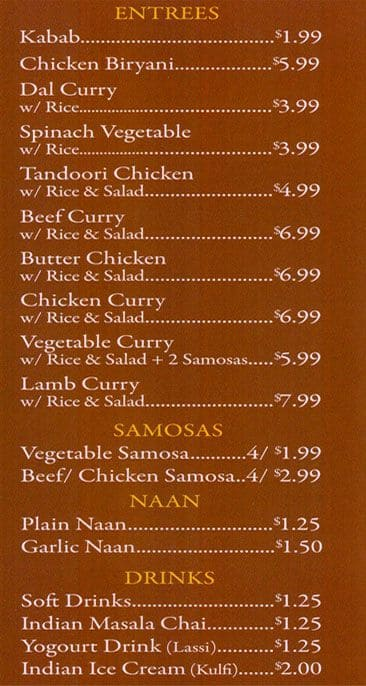 curry kitchen menu - Curry Kitchen