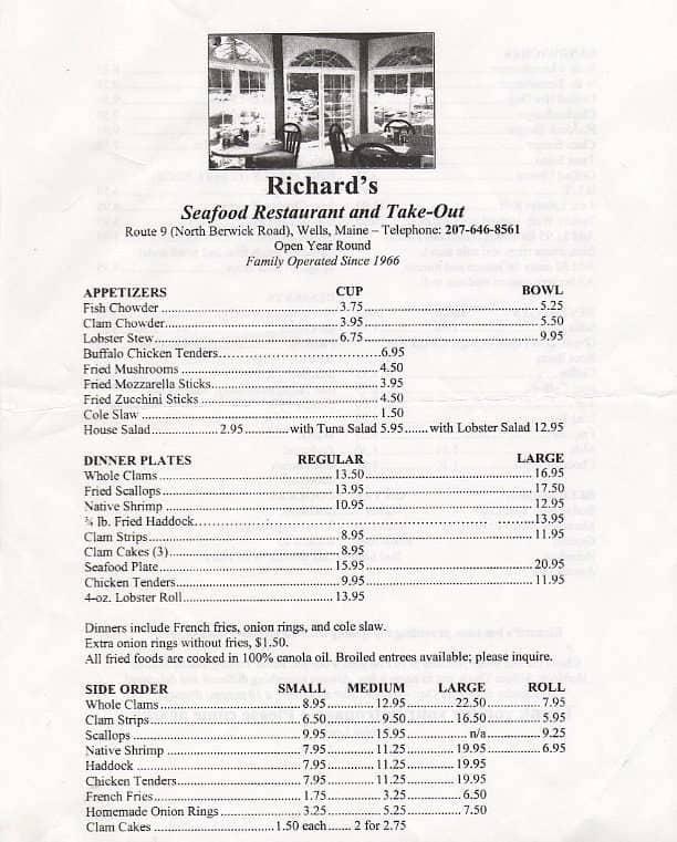 Richard S Seafood Restaurant North Berwick Menu