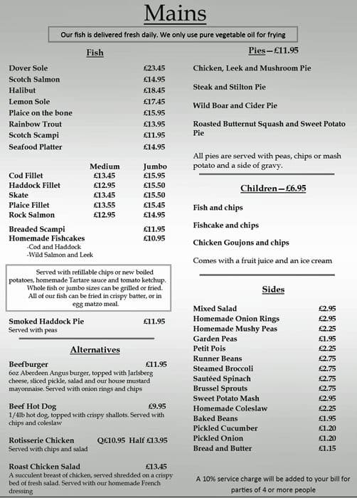 Menu at north sea fish restaurant london for Fish grill menu