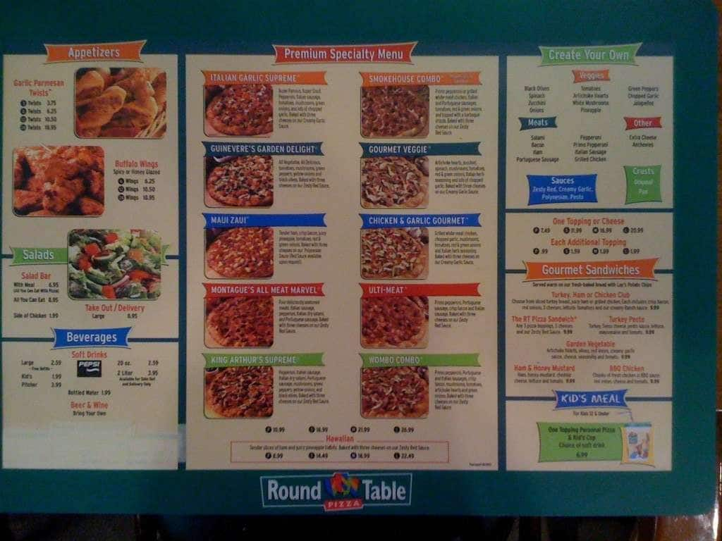 Round Table Pizza Menu Menu For Round Table Pizza Lahaina Rest Of - Round table delivery fee