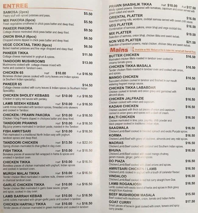 Mumbai Dabbawala Food Menu
