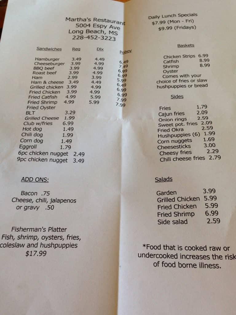 Martha S Restaurant Long Beach Menu