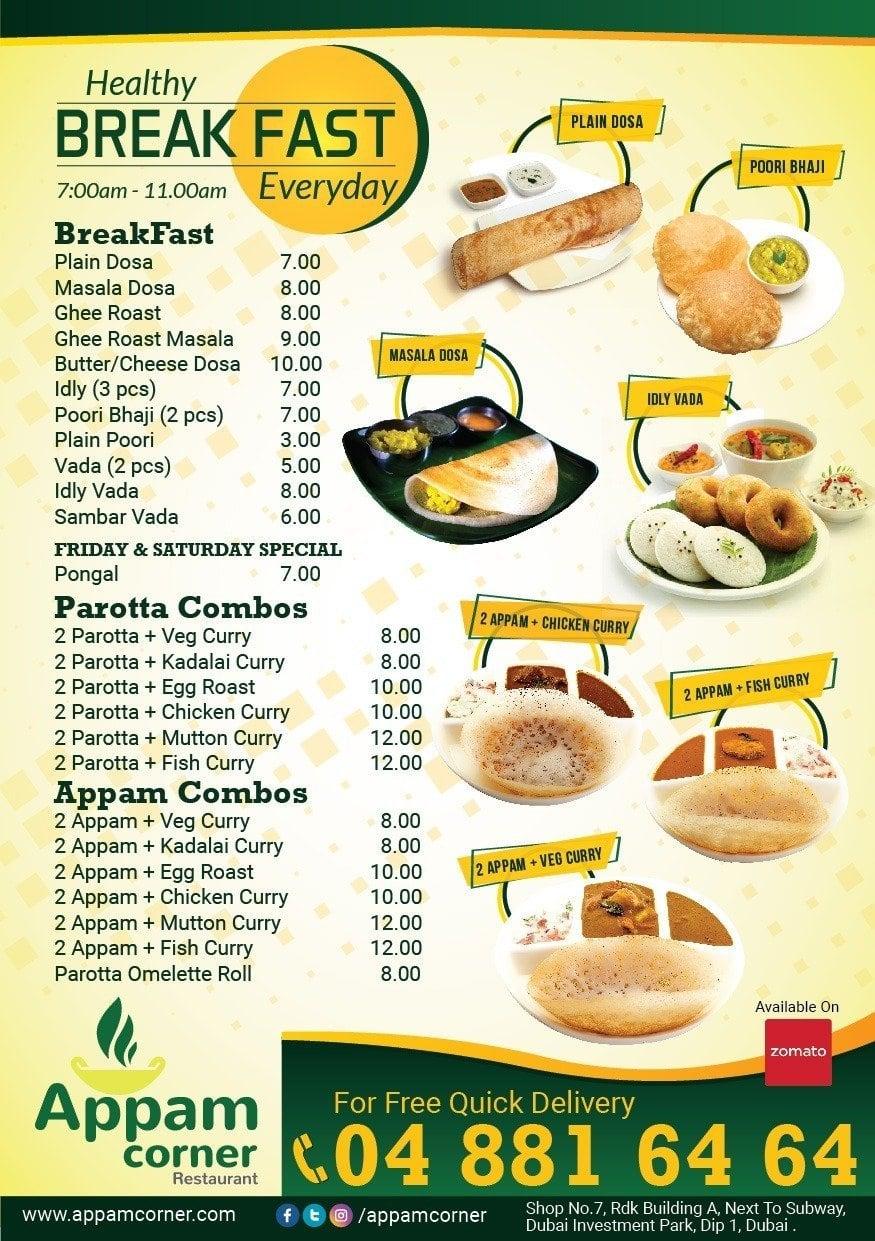 Appam Corner Restaurant Menu, Menu for Appam Corner