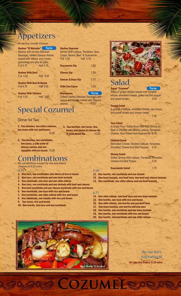 Cozumel Mexican Restaurant Menu