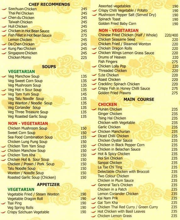 Casino new bel road menu