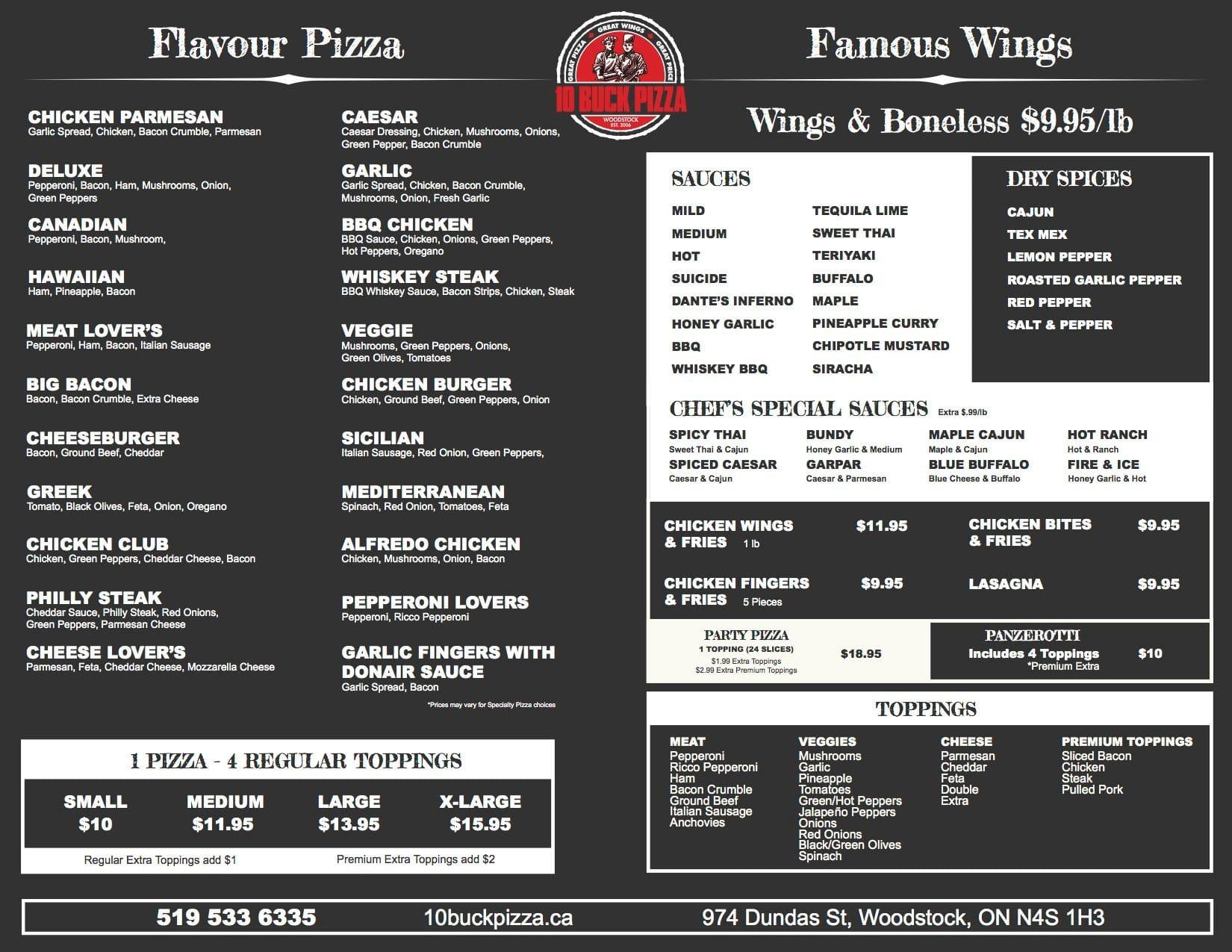 10 buck pizza and wings menu menu de 10 buck pizza and. Black Bedroom Furniture Sets. Home Design Ideas