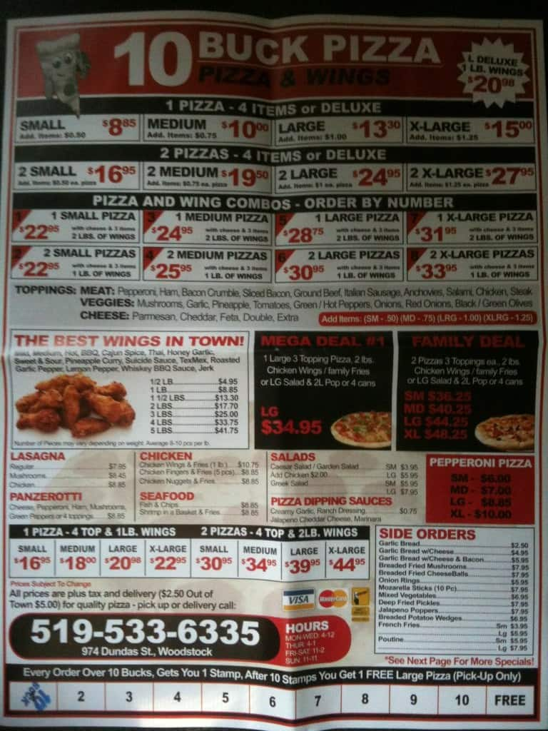 10 buck pizza and wings menu menu for 10 buck pizza and. Black Bedroom Furniture Sets. Home Design Ideas