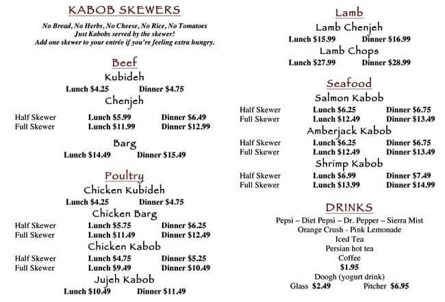 Menu At Kasra Persian Grill Restaurant Houston Westheimer Rd