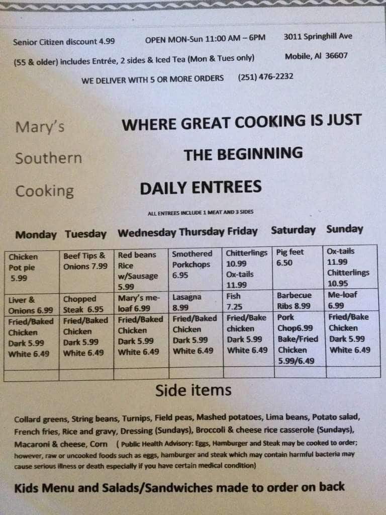 The Restaurant Information Including Mary S Southern Cooking Menu Items And Prices May Have Been Modified Since Last Website Update