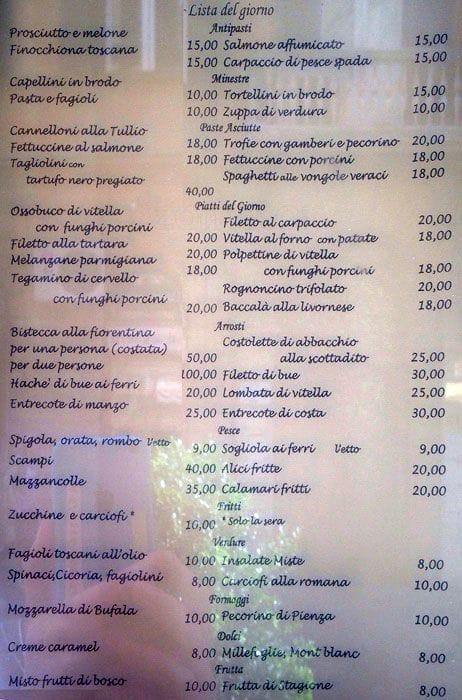 Ristorante Tullio Menu Menu For Ristorante Tullio Veneto
