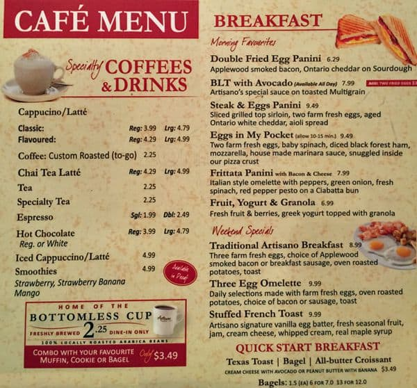 Dominick S Cafe Menu