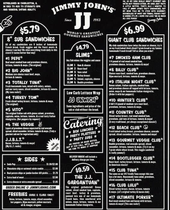 Jimmy John S Restaurant Menu