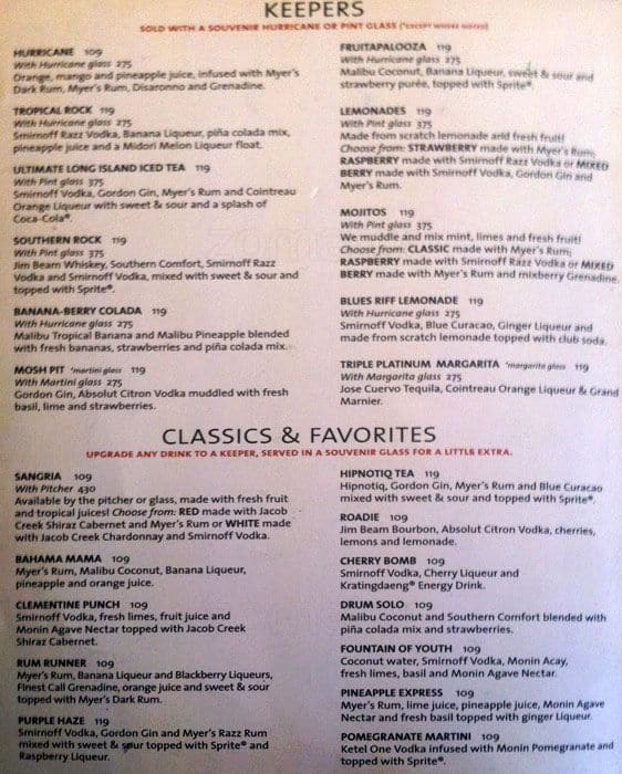 Hard Rock Cafe Florida Menu Prices