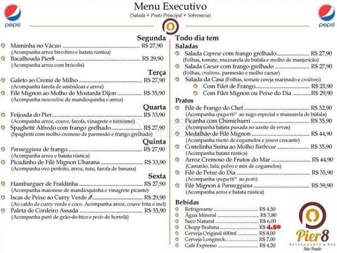 Pier bar e restaurante menu menu de pier bar e for How much does a fish cost