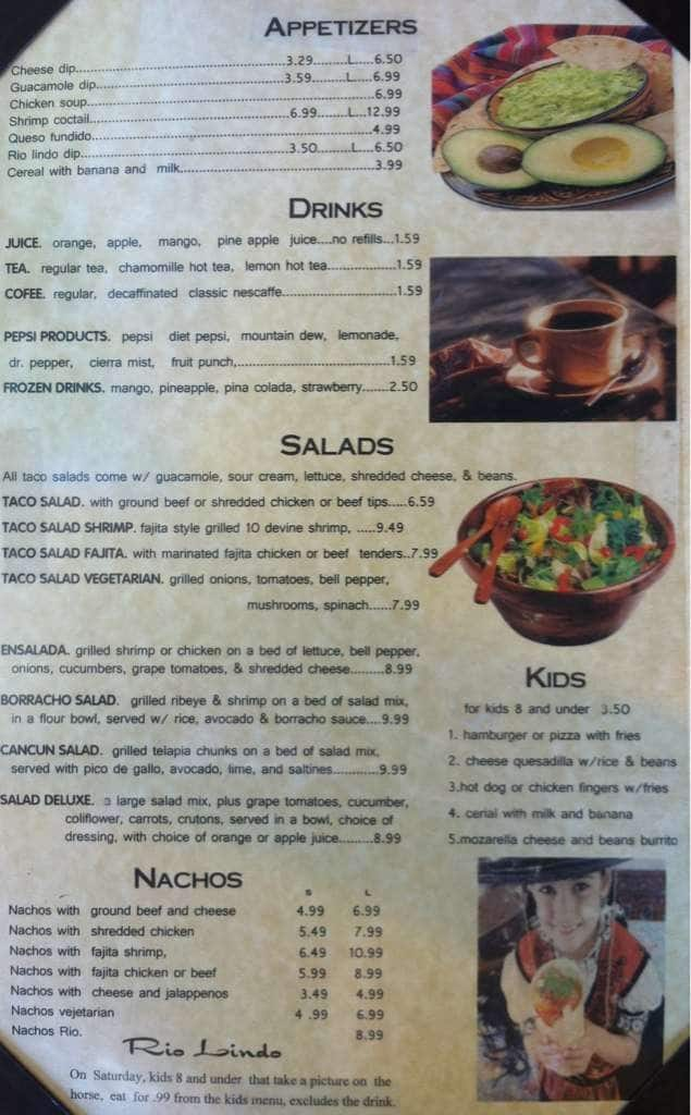 Downloadable Cafe Rio Menu