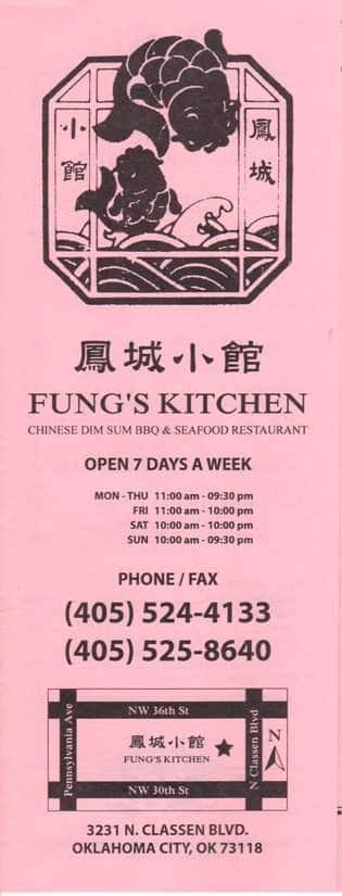 fung 39 s kitchen menu menu for fung 39 s kitchen uptown oklahoma city urbanspoon zomato. Black Bedroom Furniture Sets. Home Design Ideas