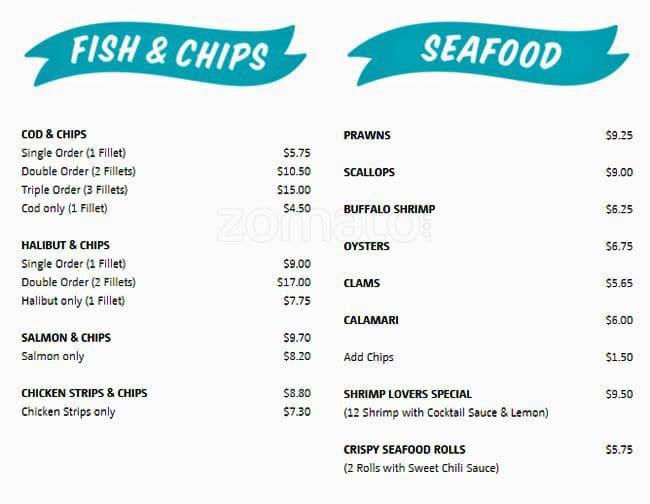 Spud fish chips menu menu restauracji spud fish chips for Spuds fish and chips