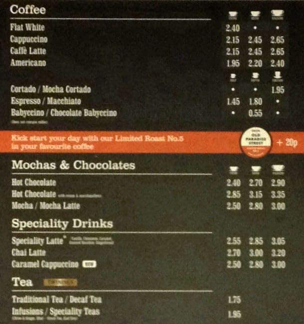 Image result for costa menu