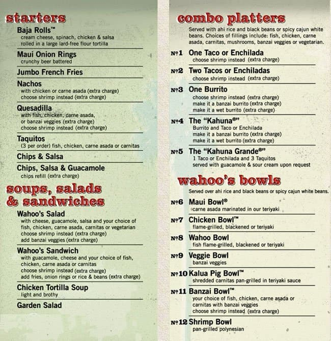Wahoo 39 s fish taco menu menu for wahoo 39 s fish taco for Fish taco restaurant