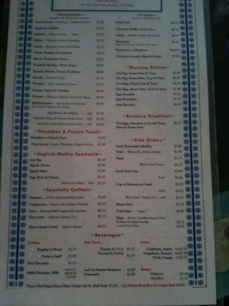 City Room Cafe Nashua Nh Menu