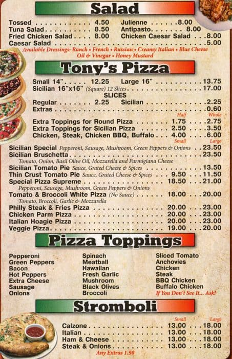 Tonys Pizza Palace Menu Menu For Tonys Pizza Palace