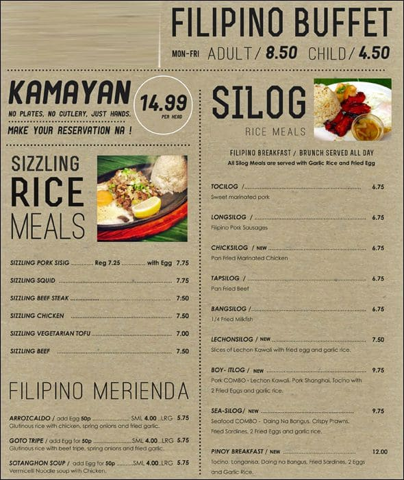 Lutong Pinoy Menu, Menu for Lutong Pinoy, Earl's Court, London