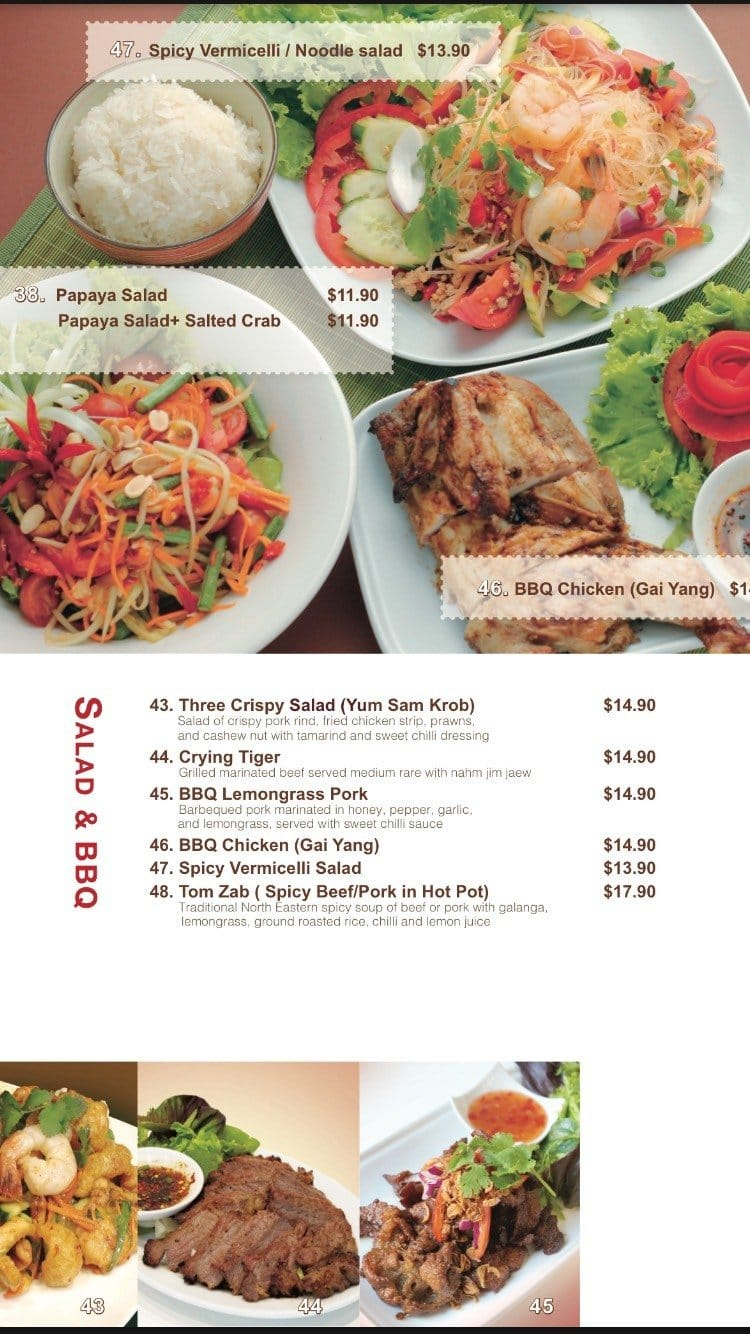 Menu at Osha Thai Kitchen restaurant, Hawthorn