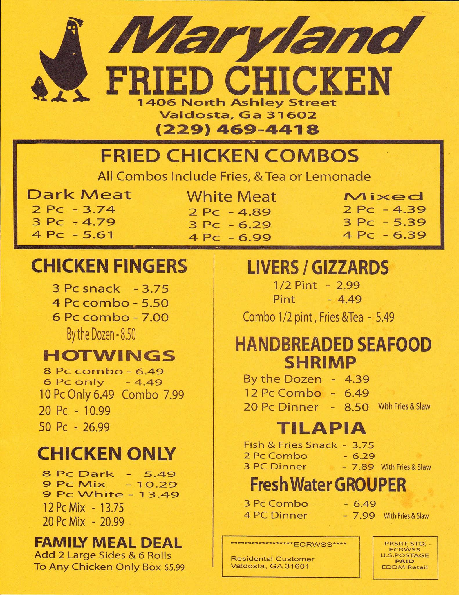 Maryland Fried Chicken Menu Restaurant