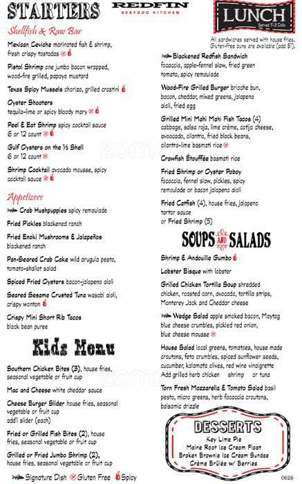 Redfin Seafood Kitchen Menu, Menu for Redfin Seafood Kitchen, Lake Travis Area, Austin ...