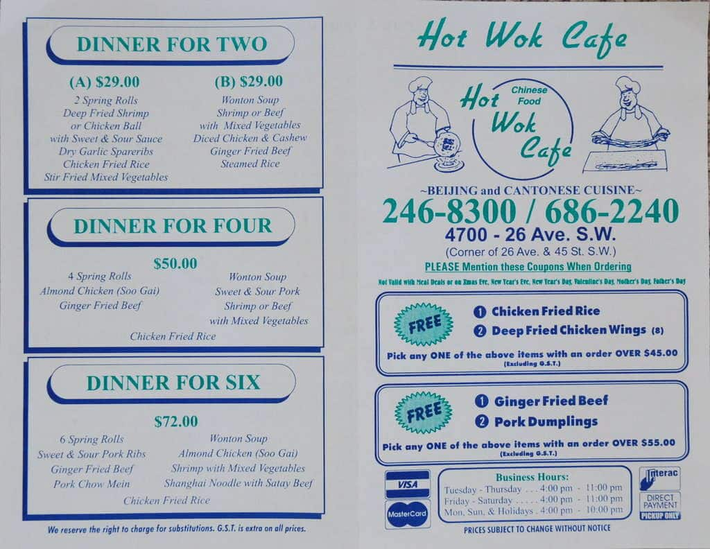 Menu at Hot Wok Cafe, Calgary