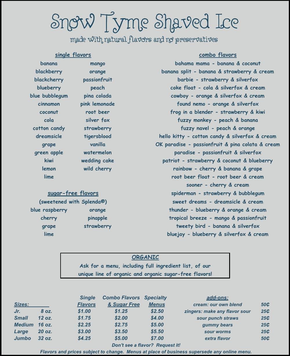 Shaved ice flavor menu list, anahi fakes porn