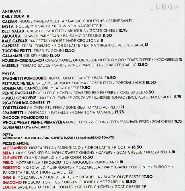 Fratelli Restaurant Ottawa Menu