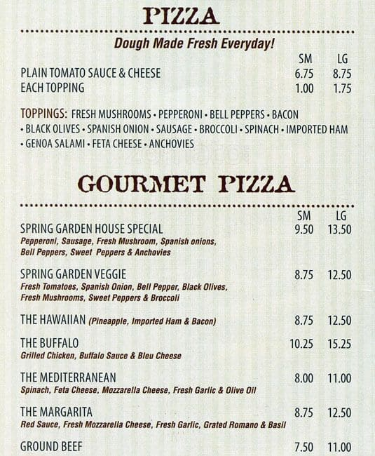 Perfect Scanned Menu For Spring Garden Pizza