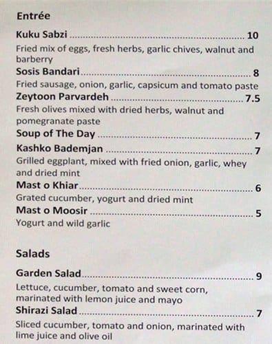 Persian Restaurant Lindfield Menu