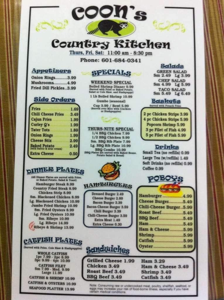 S Country Kitchen Jayess Menu