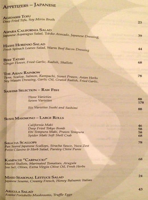 Marriott Hotel Food Menu