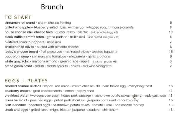 second bar kitchen downtown menu - Second Bar And Kitchen